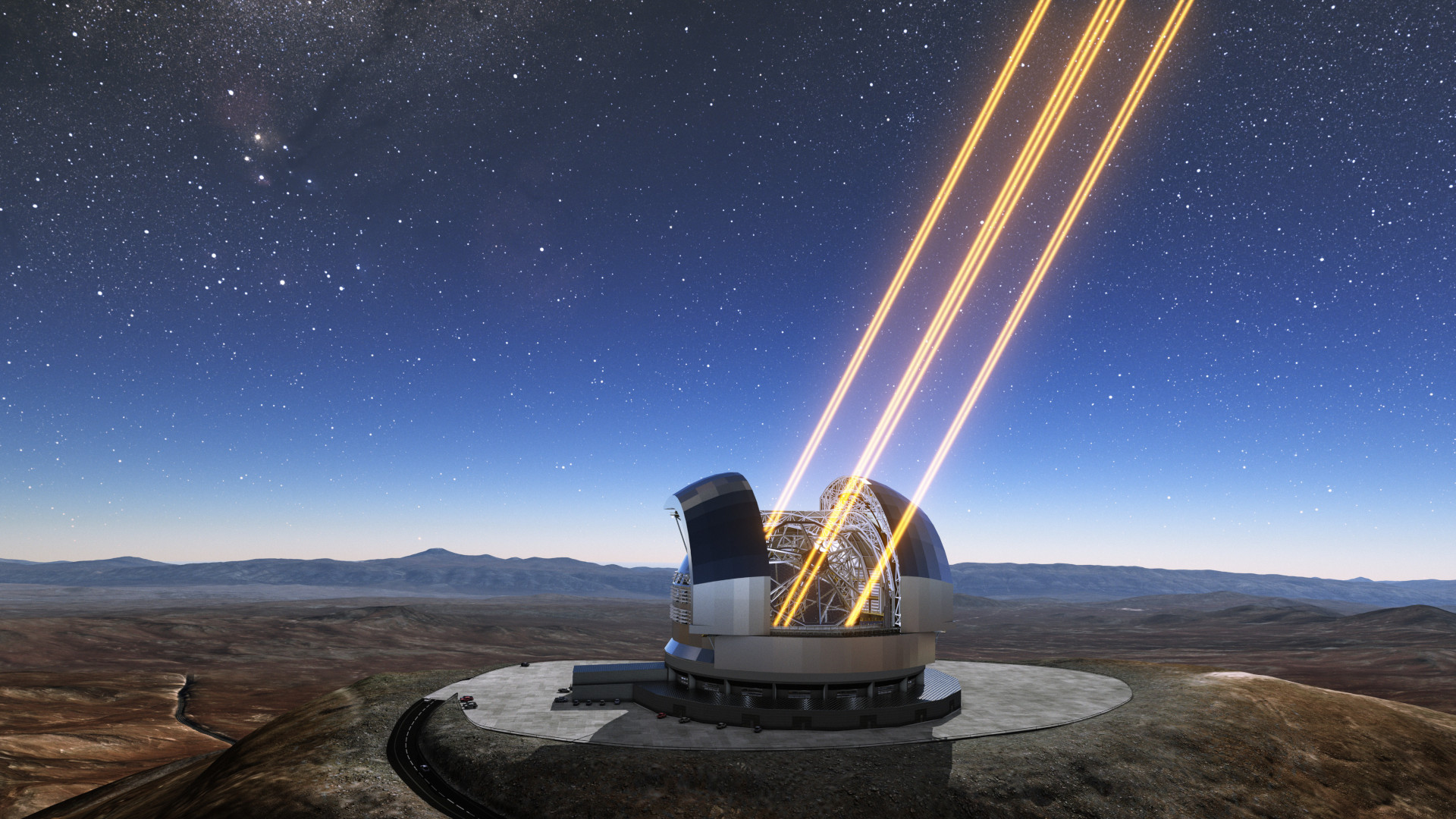 This artist's rendering shows the Extremely Large Telescope in operation on Cerro Armazones in northern Chile. The telescope is shown using lasers to create artificial stars high in the atmosphere. The first stone ceremony for the telescope was attended by the President of Chile, Michelle Bachelet Jeria, on 26 May 2017.